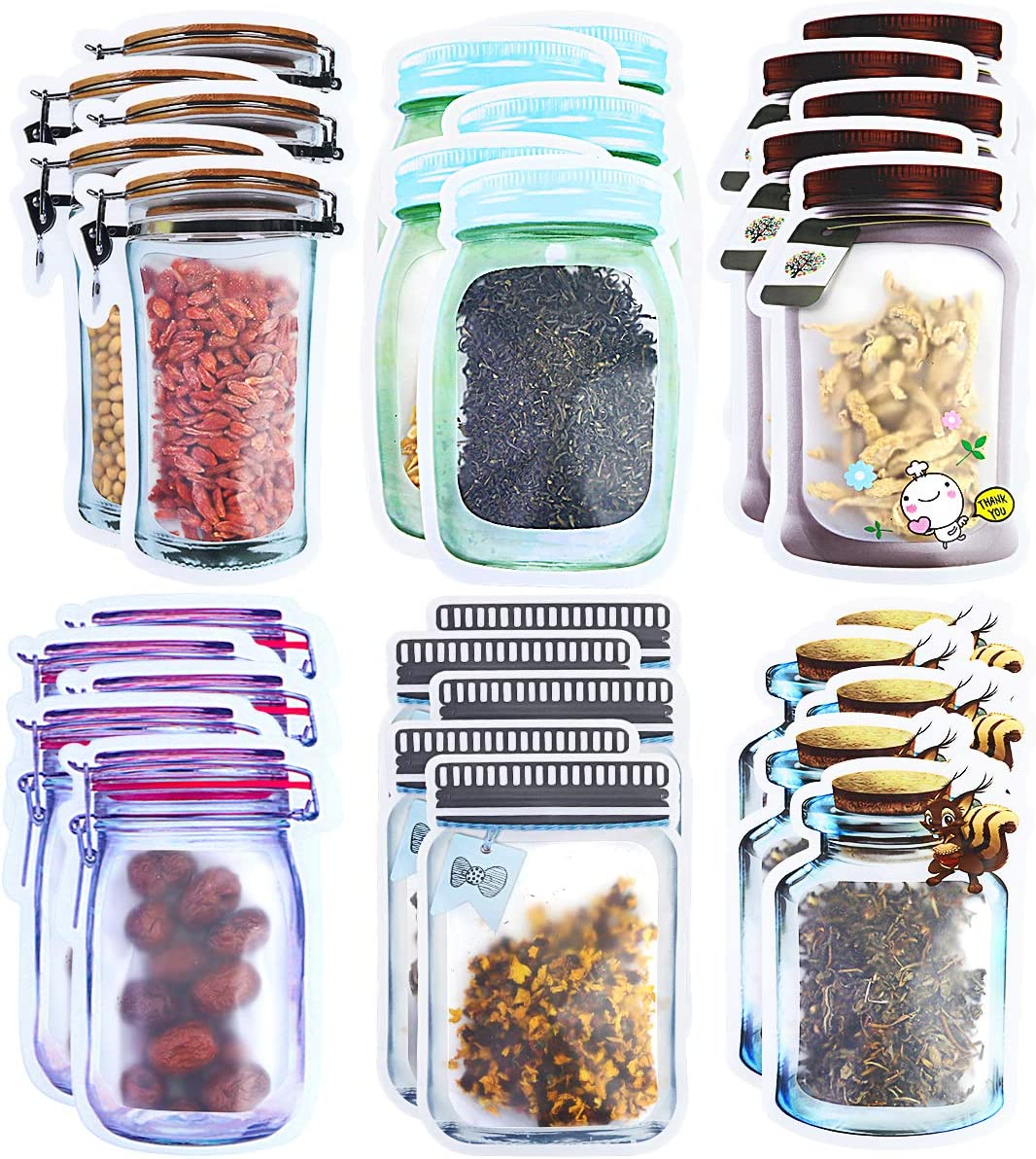Nexxxi 30 Pack Mason Jar Zipper Bags Storage, Reusable Airtight Seal Food Bag Leak-Proof for Nuts Cookies, Travel Camping, 6 Shapes