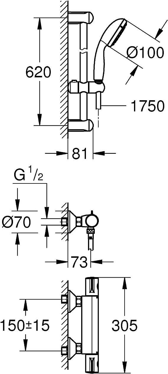 GROHE 34566001/Grohtherm 800/de douche thermostatique DN 15/avec garniture de douche Chrome