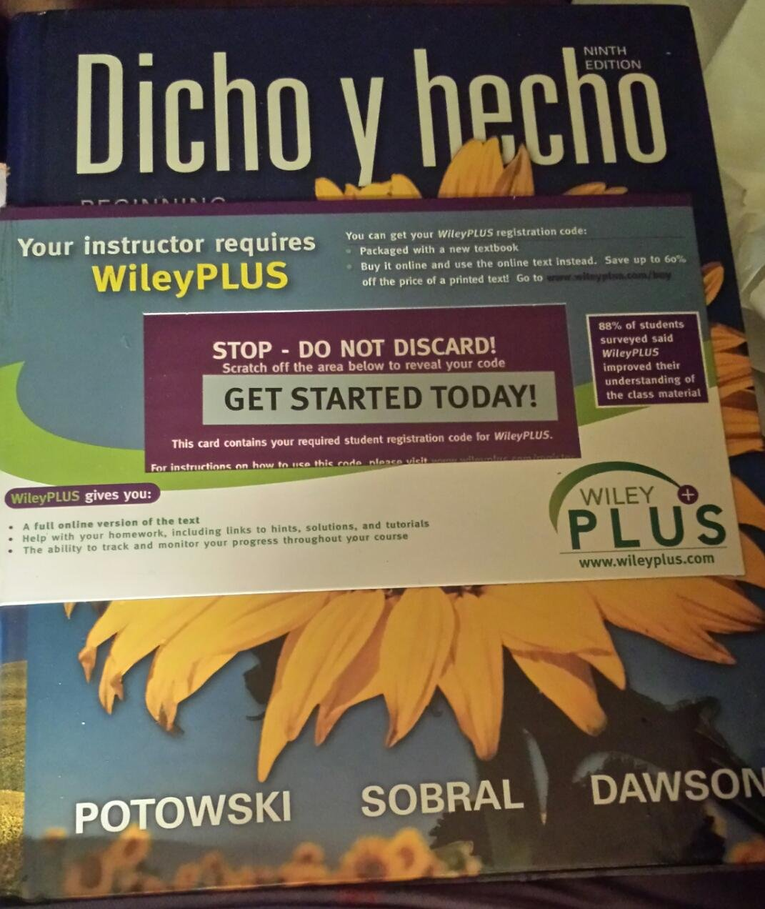 Dicho Y Hecho with Wileyplus Ninth Edition with Electronic Student Activities  Manual: Potowski, Sobral, Dawson: 9781118099636: Amazon.com: Books