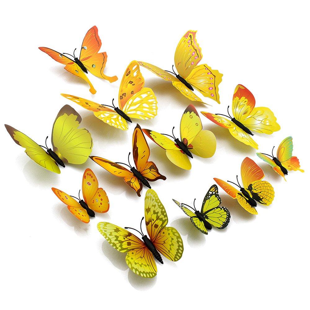 Amazon.com: Topixdeals Wall Decal Butterfly, 48 PCS 3D Butterfly ...
