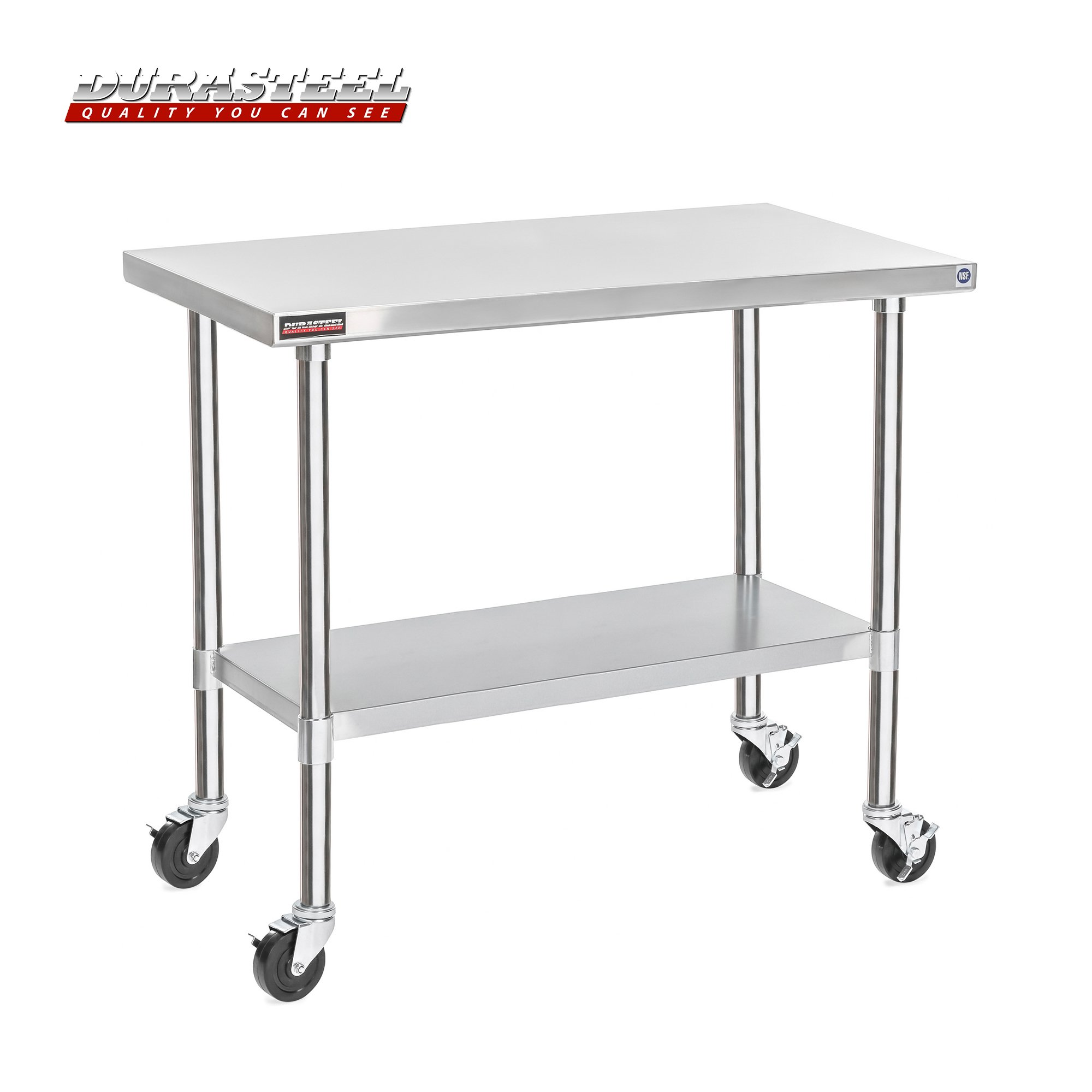 DuraSteel Stainless Steel Work Table 24'' x 48'' x 34'' Height w/ 4 Caster Wheels -  Food Prep Commercial Grade Worktable - NSF Certified - Good For Restaurant, Business, Warehouse, Home, Kitchen, Garage
