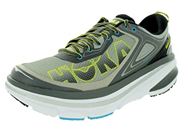 Hoka One One Men's Bondi 4 Road Running Shoe,Grey/Citrus/Cyan Lycra