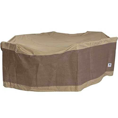 """Duck Covers Elegant Rectangular/Oval Patio Table & Chair Set Cover, Fits Outdoor 109"""" Long"""