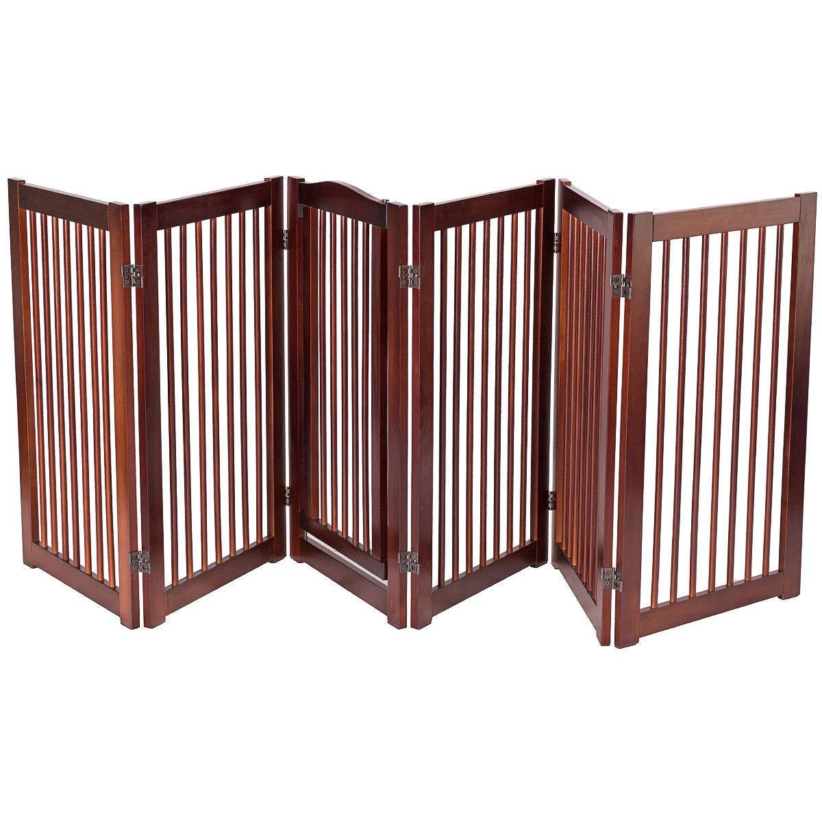 Giantex 36'' Configurable Folding Free Standing Panel Wood Pet Dog Safety Fence w/Gate (133'' W)