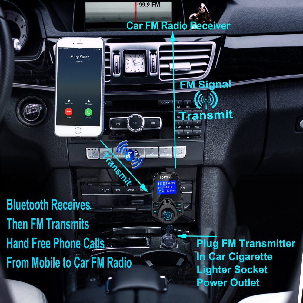 8 In 1 T10 Wireless Car Bluetooth Fm Transmitter For This Tx Is About The Simplest And Most Basic With 144 Inch Display Usb Charger Mp3 Player Transmits Tf Card Aux Iphone