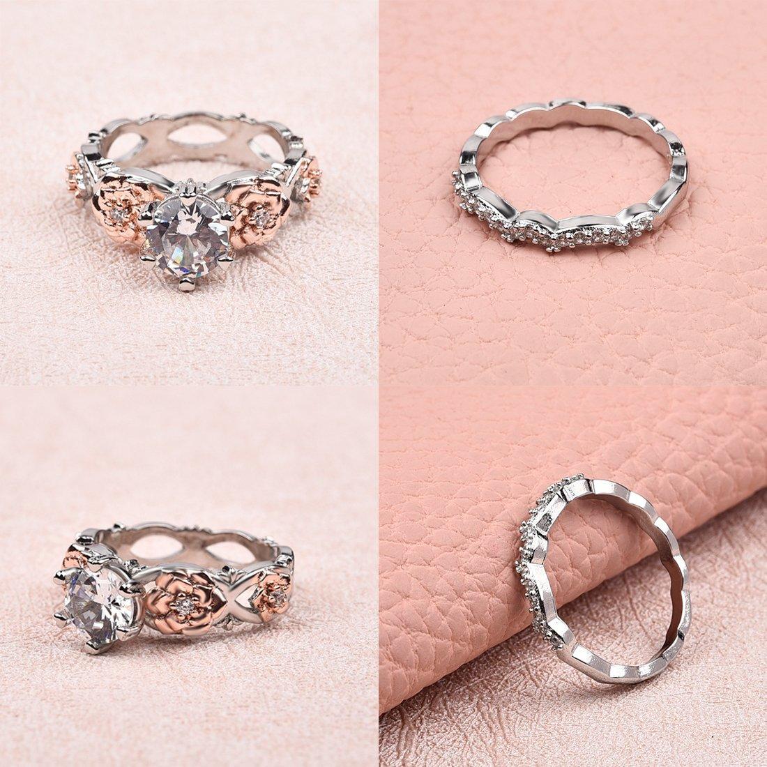 Amazon.com: DALARAN Cubic Zirconia Rings Wedding Set Rose Ring ...