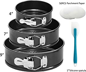 """Springform Pan, OAMCEG 3 Pcs (4""""/7""""/9"""") Premium Non-stick Detachable Bakeware Cheesecake/Cake Pan with 50 Pcs Parchment Paper Liners and 8.35'' Silicone Spatula for Baker and Baking Enthusiast"""