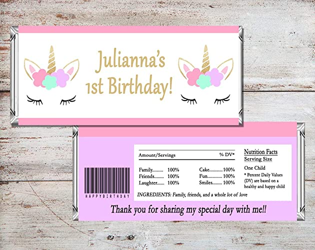 Unicorn Personalized Candy Bar Wrapper, Set of 10 Unicorn Party Favors