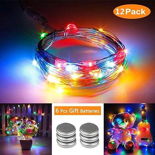 Qedertek 12 Pack Guirnalda Luces LED Pilas, Luces Navidad a Pilas 2M 20 LED, Habitacion Luces de Navidad, Micro Luces de Cadena de Alambre de Cobre para Decoración Interior, Bodas, Party (Colores):