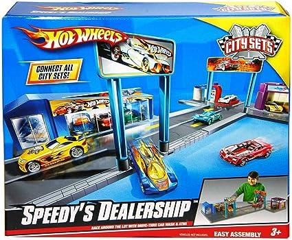 Hot Wheels Speedy/'s Dealership City Sets Vehicle Playset~ Race Wash /& Park~ NEW