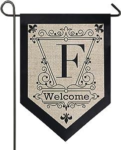 Oarencol Vintage Monogram Letter F Welcome Fleur De Lis Flower Garden Flag Double Sided Home Yard Decor Banner Outdoor 12.5 x 18 Inch