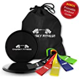 Core Strengthening Sliders and Resistance Loop Bands – 2 Gliding Disc and 5 Fitness Exercise Loops – PERFECT for On The Go Workouts,Abs,Booty Bands,80 Day Obsession - BONUS Printable Workout Guide