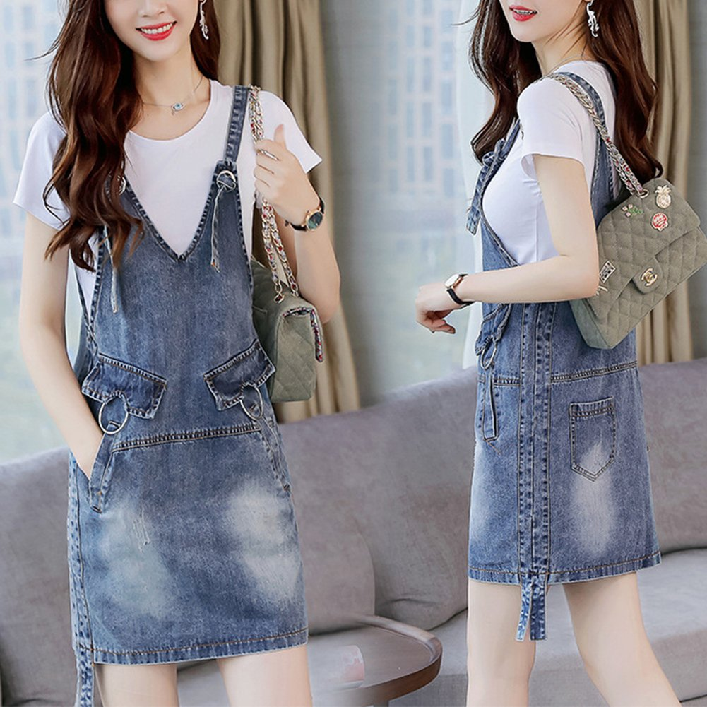 Meiyiu Women Stylish Denim Skirt Shoulder Strap Suspender Skirt Casual Daily Wear Outfits Gift Denim Blue (Single Skirt) XXL by Meiyiu (Image #8)