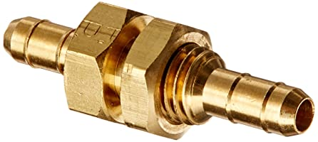 "Parker Hannifin 22BH-4-4 Dubl-Barb Brass Body Bulkhead Union Fitting, 1/4"" Barb Tube x 1/4"" Barb Tube"