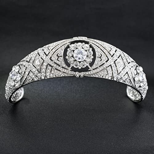 SEPBRIDALS Austrian Crystals CZ Meghan Princess Wedding Bridal Tiara Crow Hair Accessories HG078 O2x3p7