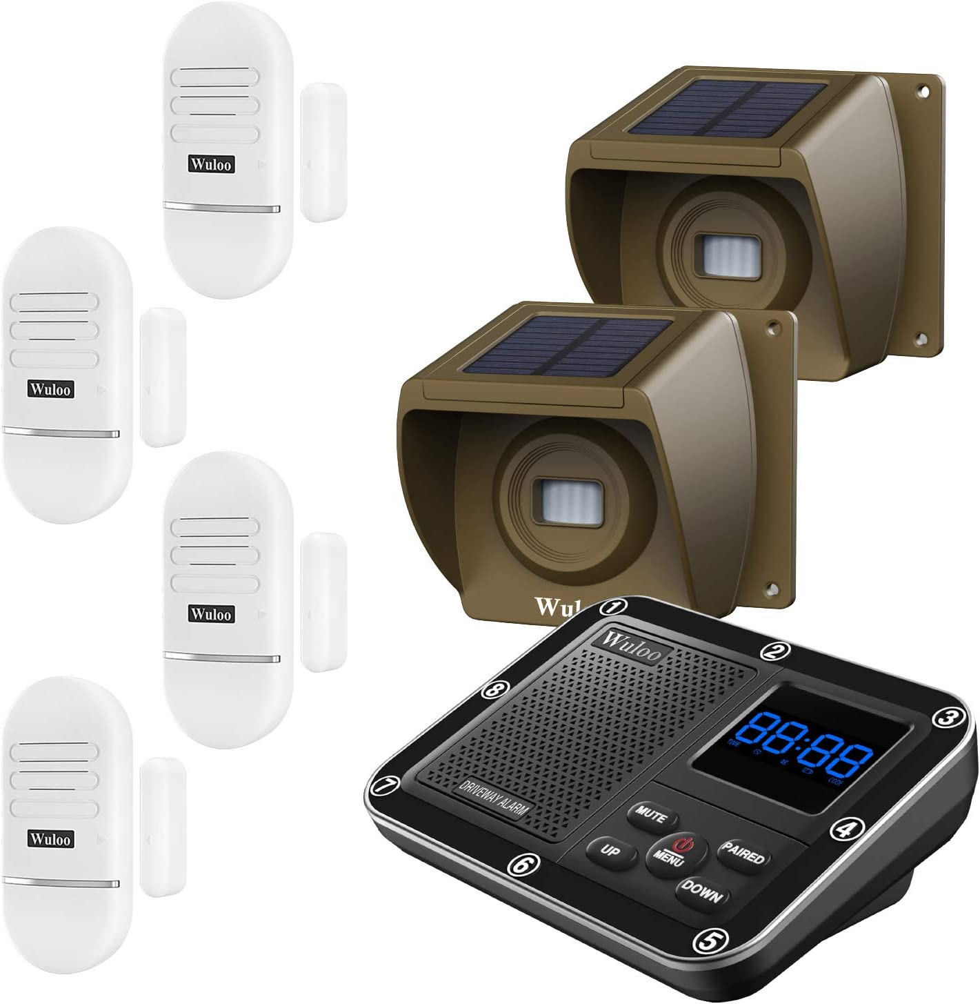 Door Window Alarm for Home, Solar Driveway Alarm Alert, Multifunctional 7 Piece Wireless Home Security System, Rechargeable Battery/Weatherproof/Mute Mode/Clock and Alarm