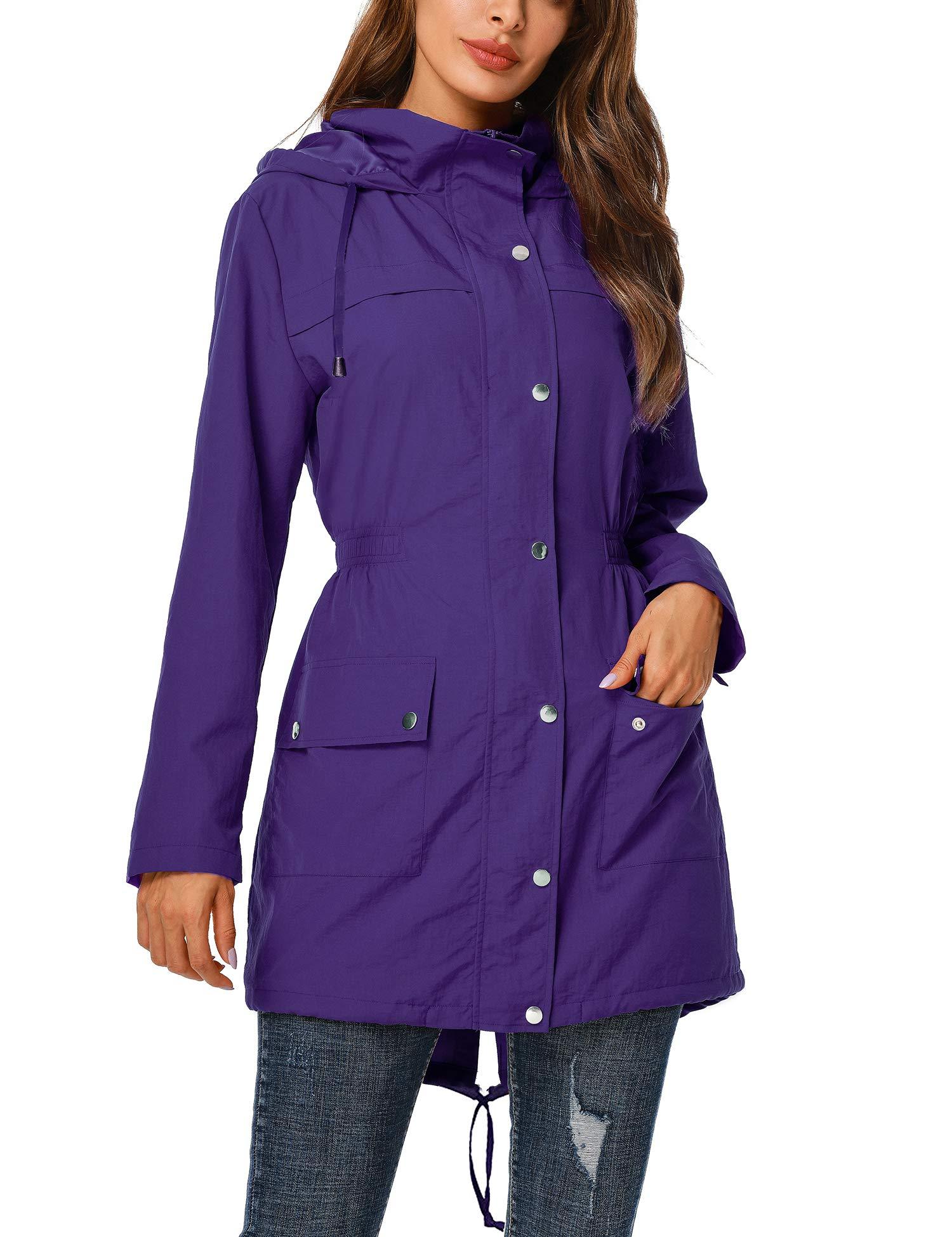 Womens Outerwear Lightweight Hooded Waterproof Active Outdoor Rain Jacket Purple,XXL by UUANG