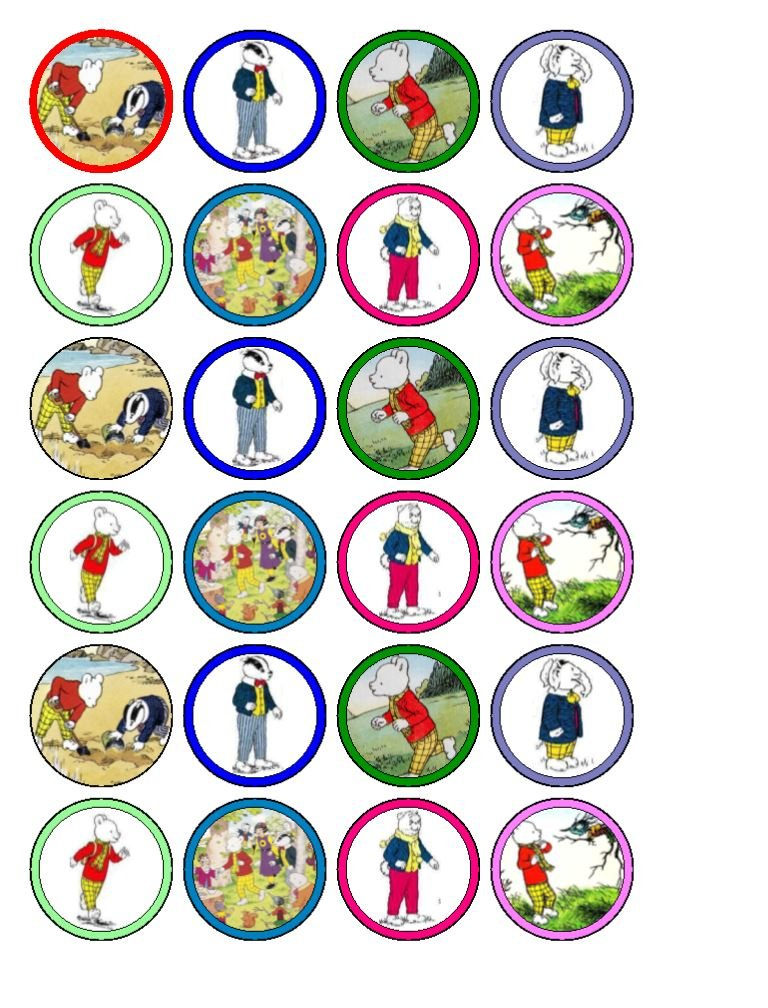 24 x Rupert The Bear (traditional) style) Edible Cupcake Toppers