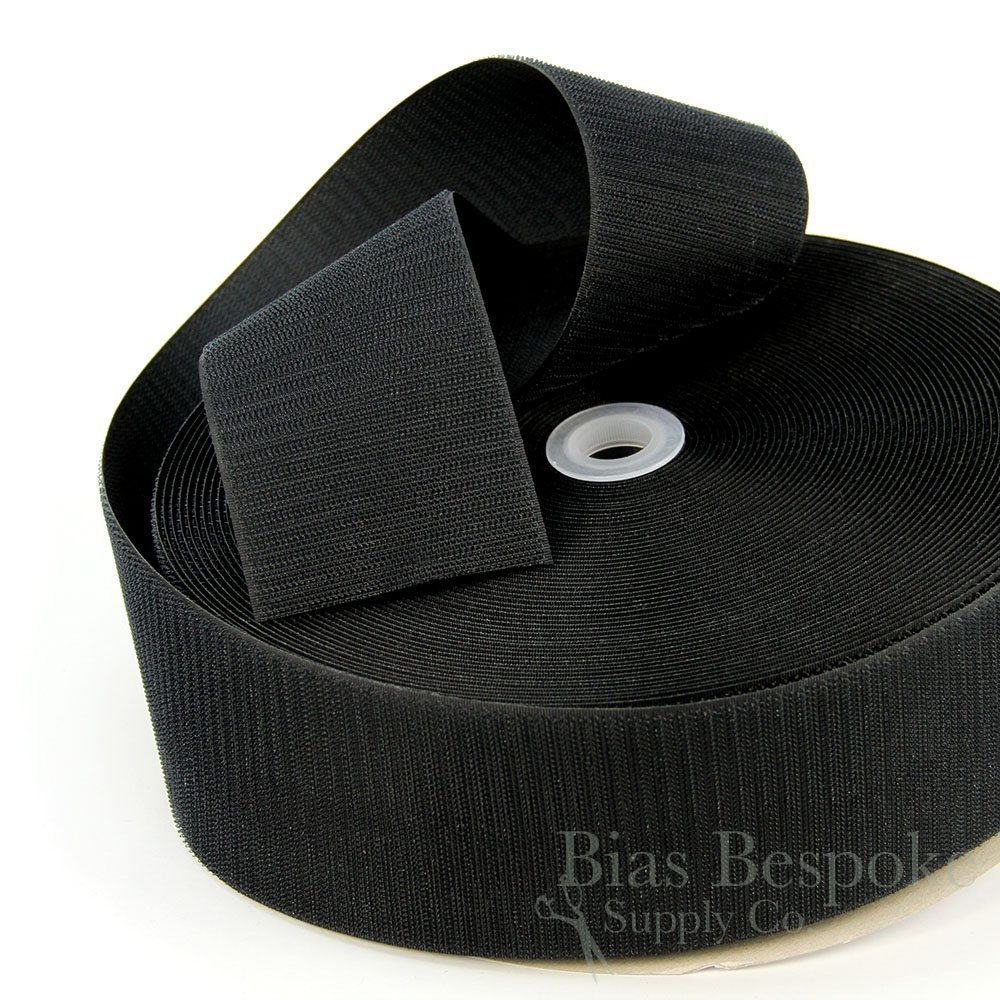 27 Yard Rolls of Black Sew-on Hook and Loop Fastening Tape, 3'' Wide by Bias Bespoke
