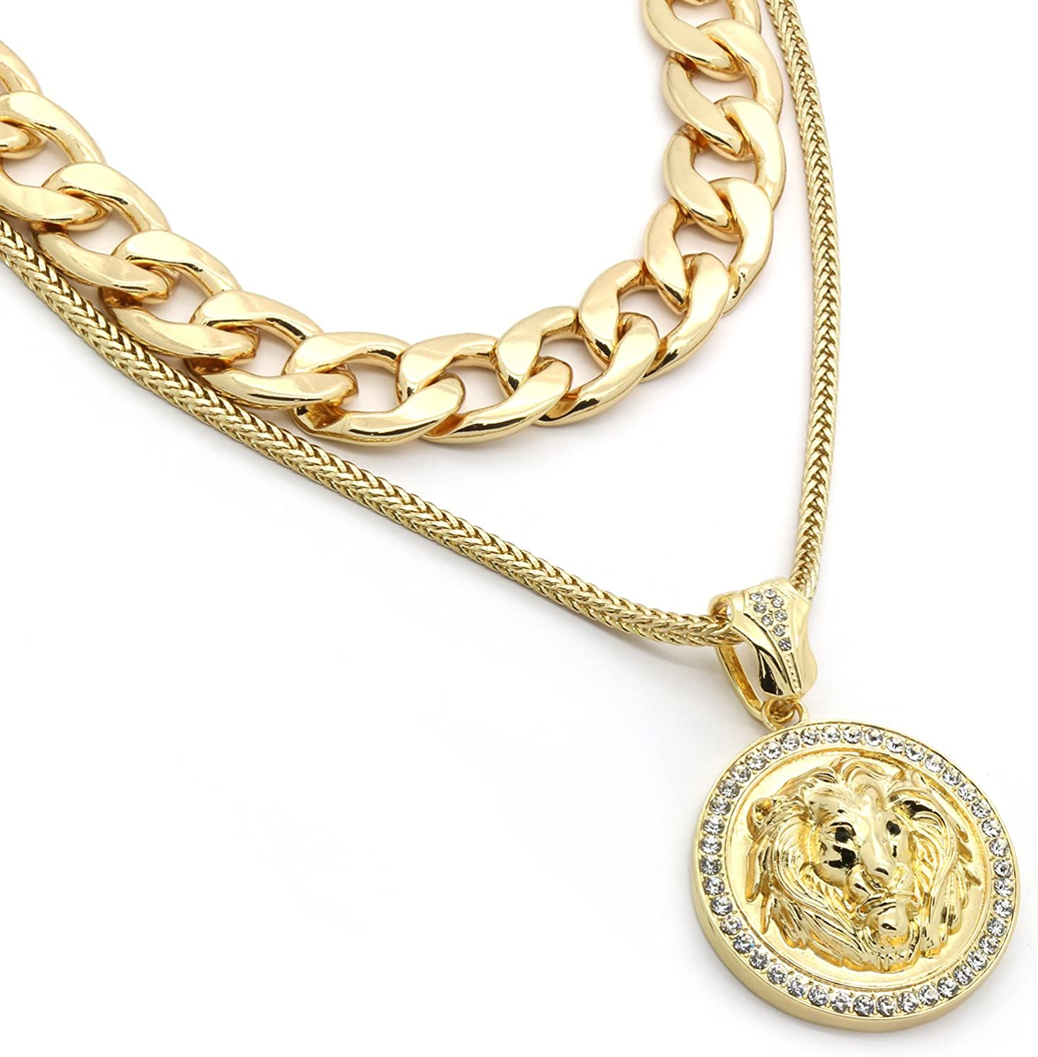 L /& L Nation 14k Gold Plated Hip Hop Fully CZ Gold Clear Pendant with 4 mm 30 Franco Chain