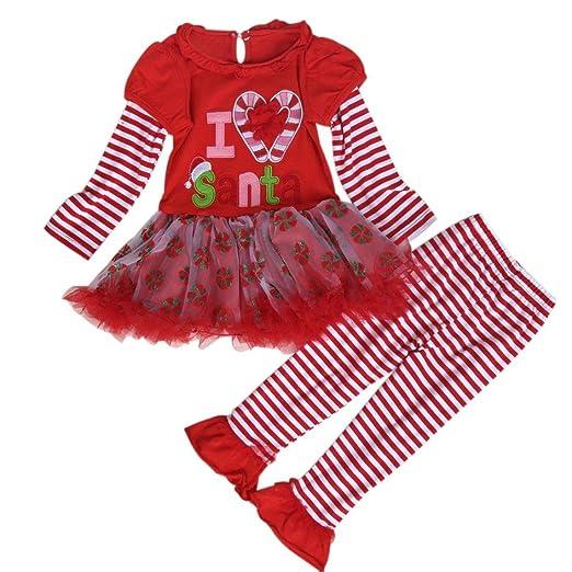 df33efb8ed Amazon.com  AMA(TM) Christmas Child Girl Stripe Long Sleeve Tulle Tutu Dress +Long Pant (3T