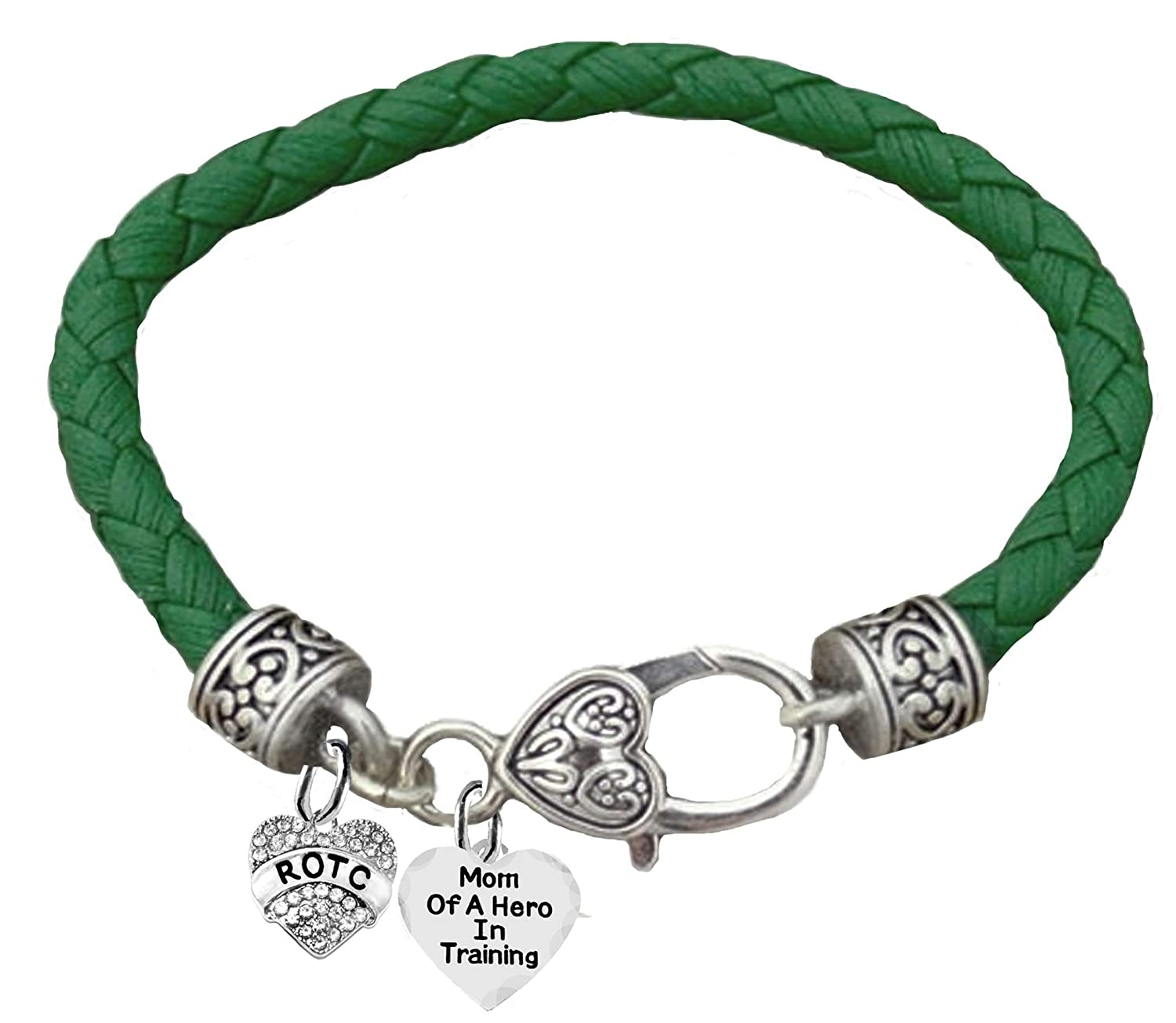 Cardinali Jewelry ROTC Hypoallergenic Safe-Nickel Lead and Cadmium Free Mom of A Hero in Training,Genuine Army Green Leather Bracelet