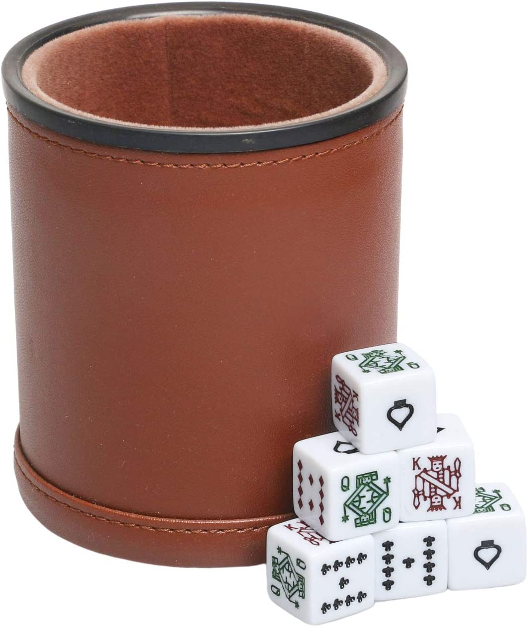 Leatherette Dice Cup with Poker Dice, Felt Lining Quiet Shaker for Playing Yahtzee/ Farkle/ Liars Dice,