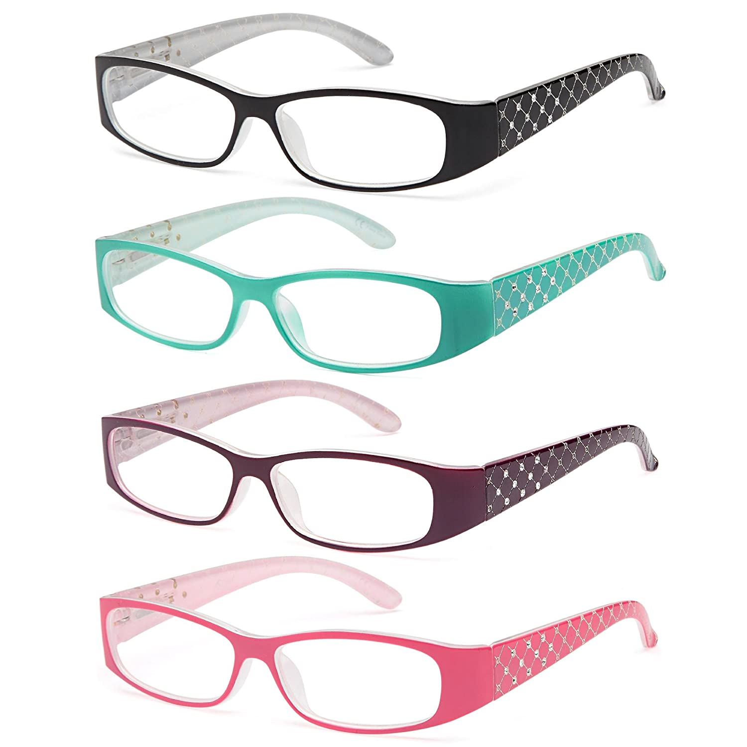 ALTEC VISION Pack of 4 Pattern Color Frame Readers Spring Hinge Reading Glasses for Women - Choose Your Magnification AV