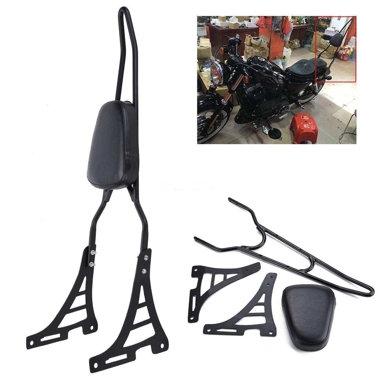 Ambienceo Black Rear Backrest Sissy Bar with Cushion Pad for Harley Davidson XL883C XL883R XL1200R XL1200C XL1200S XLH883 XLH1200 by Ambienceo