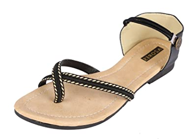 Azores Womens' Black Flat Sandals - 9: Buy Online at Low Prices in India -  Amazon.in