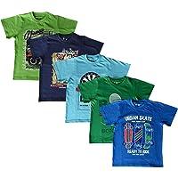 Elk Boy's Kids Round Neck Printed Half Sleeve Cotton Tshirt 5 Combo Pack