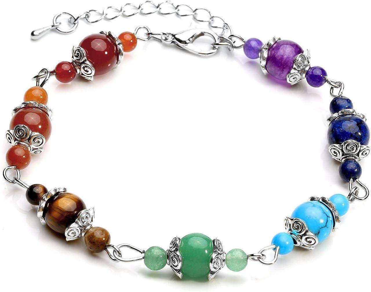 qgem piedras preciosas joyas 7Chakra pulsera Energía Terapia Yoga Balance Pulsera de maduro para mujer ajustable
