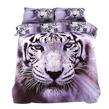 Amazon.com: Ammybeddings 4 PCs Cool Tiger Comforter Cover Set Soft ...