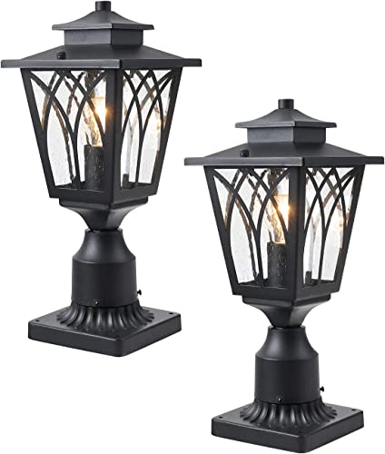 Harriet Outdoor Post Light Mounted Fixture 2 Pack, Exterior Post Lantern with 3-Inch Pier Mount Base in Matte Black Finish with Clear Seeded Glass, HOPL03B-2P