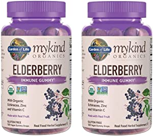 MyKind Organics Elderberry Immune Gummy Made with Organic Real Fruit, Echinacea, Zinc and Vitamin C (120 Vegan Gummy Drops) Pack of 2