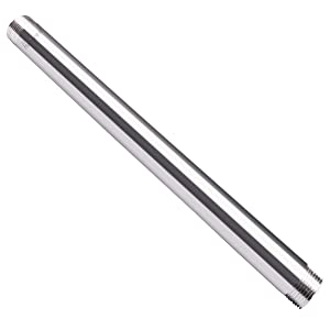 """Horiznext SS304 Nipple 1/2"""" npt Threaded Pipe Fittings Stainless Steel 12 inch Male Pipe Nipple"""