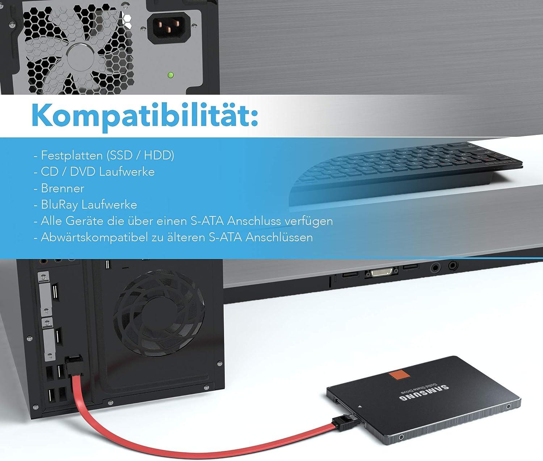 JAMEGA 0,5m SATA-3 Kabel S-ATA 6 Gb//s High Speed SSD HDD Datenkabel 3er Set Farbe: Rot//Blau//Schwarz
