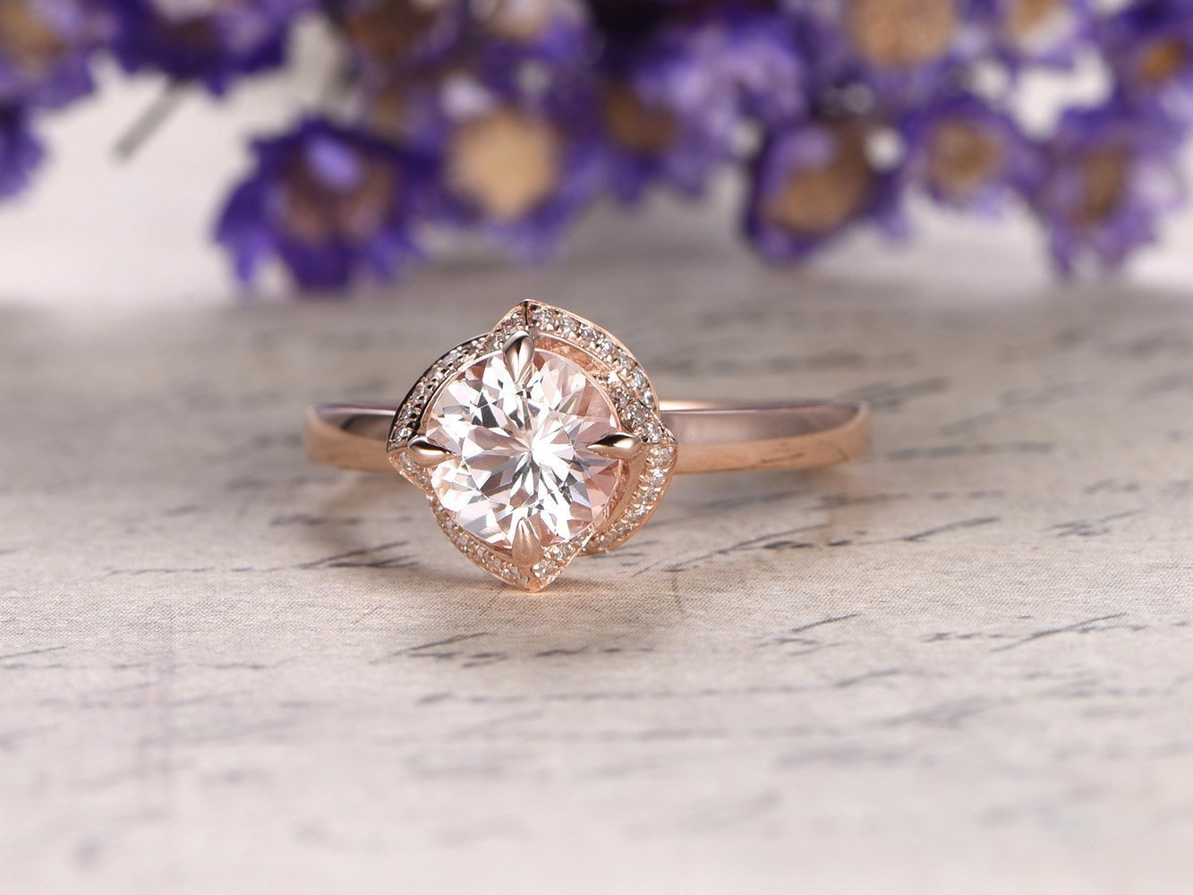 Morganite Ring Rose gold 6.5mm Round Cut Natural Pink Stone Floral Halo 14K Plain Rose Gold Band Morganite Engagement Ring size 5