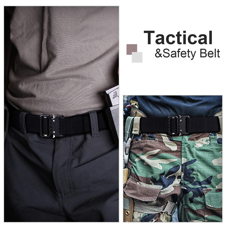 Whippy 2019 Tactical Military Webbing Nylon Belt,Webbing Gun Belt in Quick-Release Metal Buckle