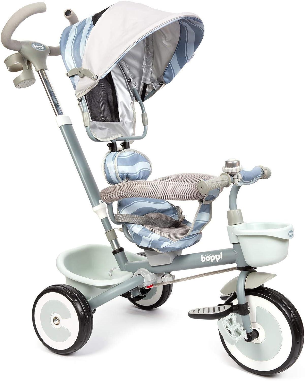 boppi 4 en 1 Cochecito Infantil y Triciclo de Pedales con Asiento Reversible hacia Delante y hacia atrás - Gris Ondas
