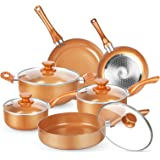 KUTIME 10pcs Cookware Set, Pots and Pans Set, Non-stick Frying Pan Set Copper Ceramic Coating Stock Pot, Sauce Pans, Deep Sau