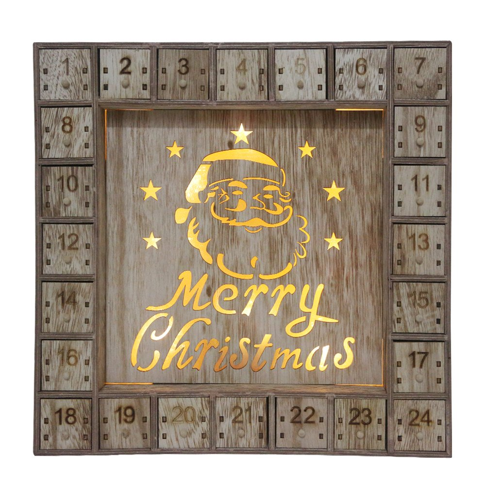 Wooden Christmas Advent Calendar with LED Lights Ltd