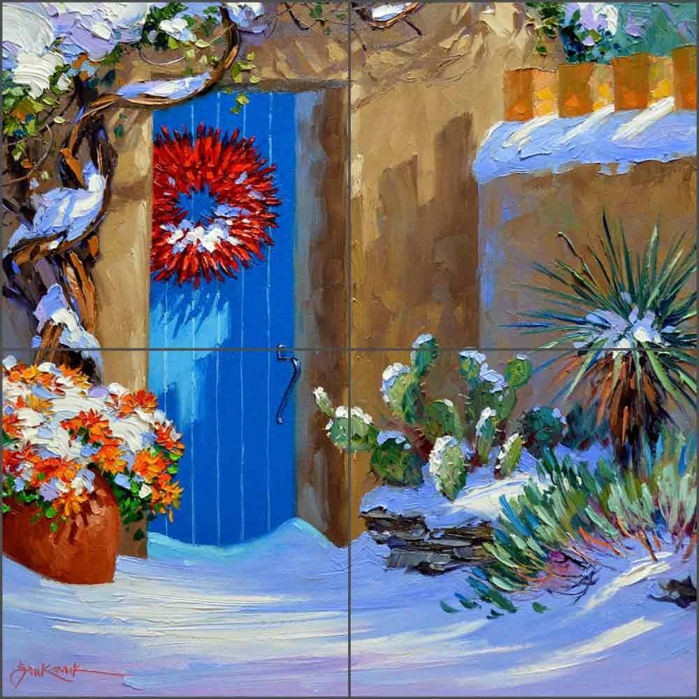 - Southwest Tile Mural Backsplash - Farolita Shadows By Mikki