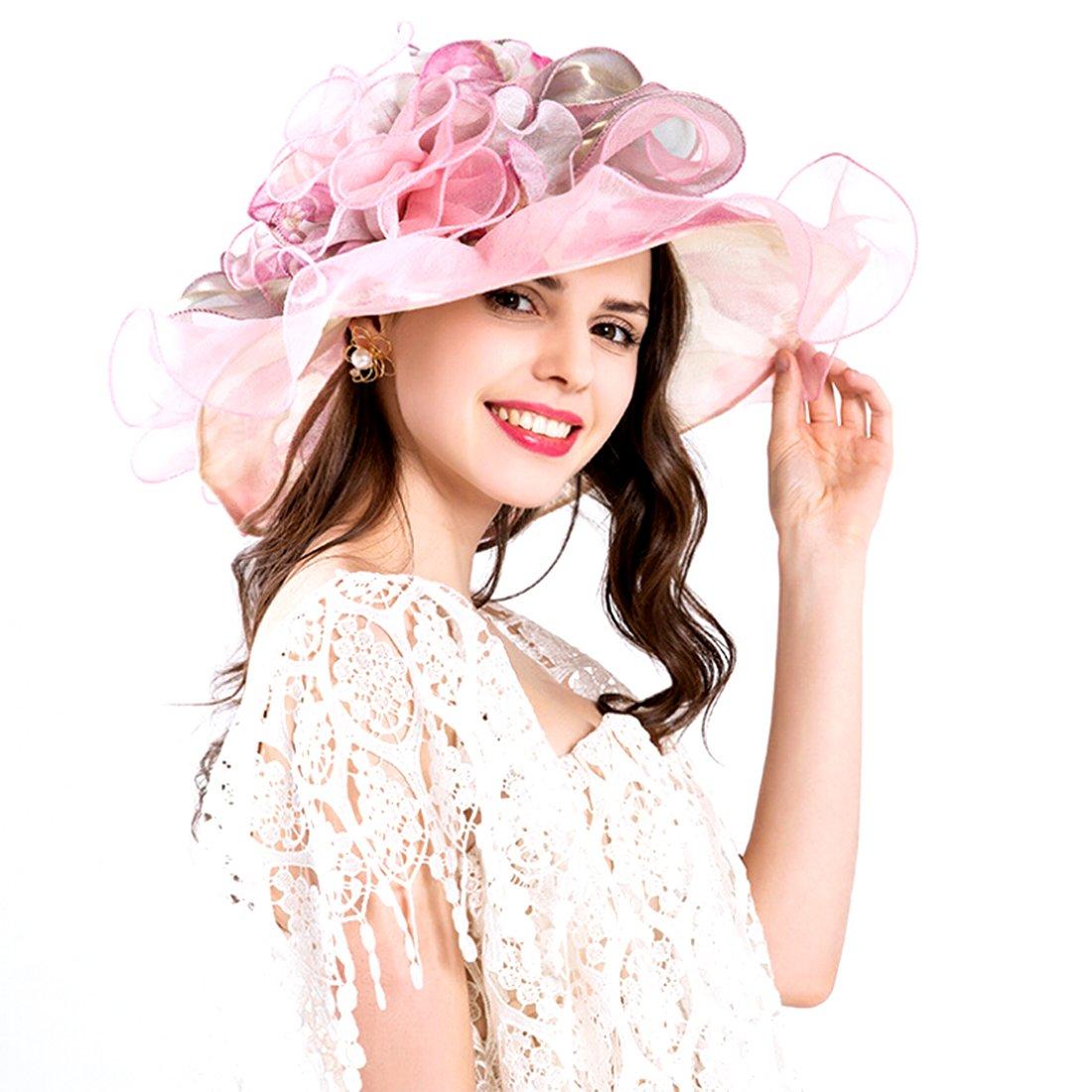 Women Foldable Organza Church Derby Hat Ruffles Wide Brim Summer Bridal Cap for Wedding Tea Party Beach (Pink)