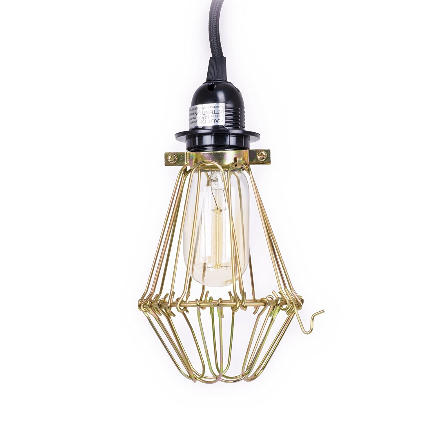 Modern Design Metal Wire Adjustable Pendant Cage Light Fixture 15' Plug-in Cord with Toggle Switch and Edison Bulb in Bronze