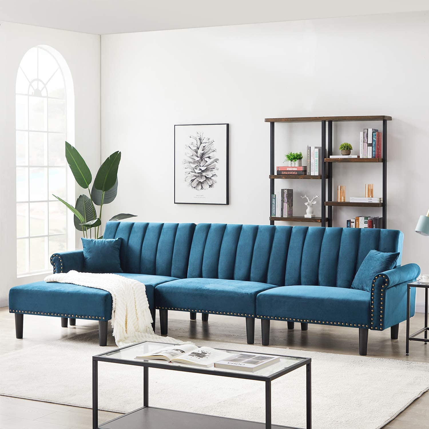 Suwikeke Modern Velvet Fabric Convertible Sectional Bed Rivet L-Shape Extra Wide Chaise Lounge Contracted Living Room Furniture Set with 2 Pillows & 3 Angles Adjustable, 4-Seat Sofas, Lake Blue