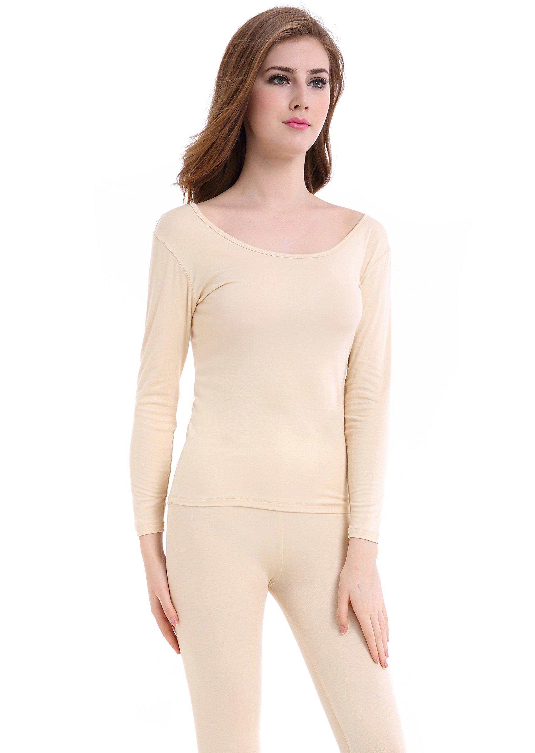 Women Long Johns Crew Neck Thermal Underwear Thin Lightweight Base Layer Set