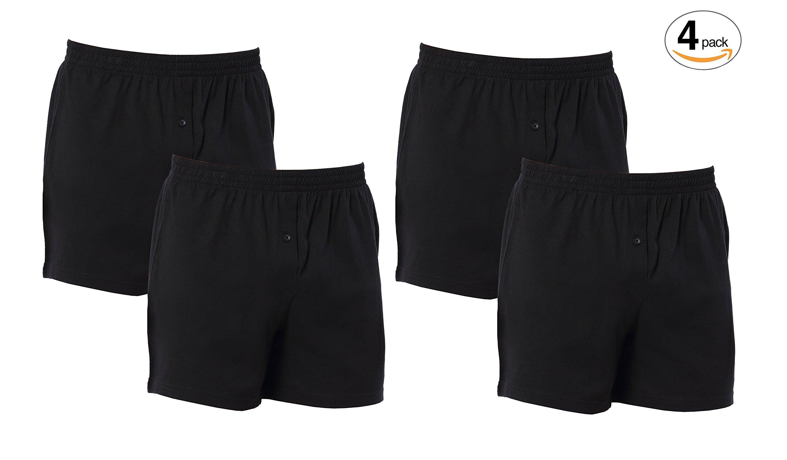 CYZ Mens 4-PK 100% Cotton Knit Pajama Bottoms - Sleep/Lounge Shorts-Black4PK-L