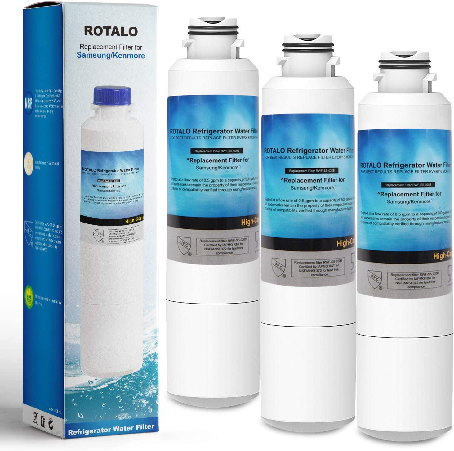 DA29-00020B Refrigerator Water Filter, ROTALO NSF 42&372 Certified Refrigerator Water Filter Replacement for Samsung DA29-00020 Refrigerator Water Filter, Pack of 3