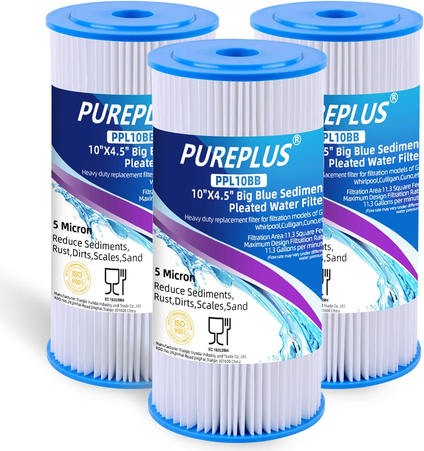 PUREPLUS 5 Micron 3 Pack 10 x 4.5 Pleated Sediment Filter
